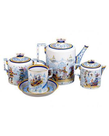 LOMONOSOV IMPERIAL PORCELAIN TEA SET SERVICE WINTER FANS 10 items