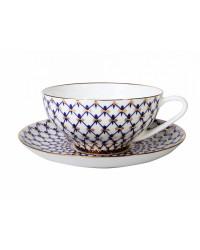LOMONOSOV IMPERIAL BONE CHINA PORCELAIN TEA CUP DOME COBALT NET 300 ml/10.1 fl.oz