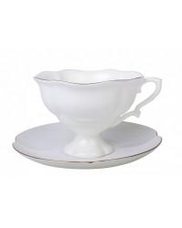 LOMONOSOV IMPERIAL BONE CHINA PORCELAIN TEA CUP NATASHA GOLDEN EDGE 220 ml/7.4 fl.oz