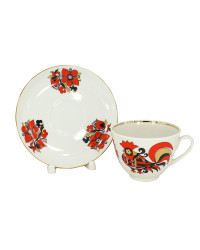 LOMONOSOV IMPERIAL PORCELAIN TEACUP AND SAUCER SPRING RED ROOSTERS 230 ML 7.8 OZ