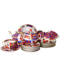 LOMONOSOV IMPERIAL PORCELAIN TEA SET SERVICE SPRING FOLK PATTERNS  20 items