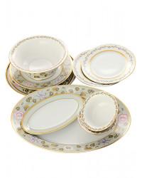 LOMONOSOV IMPERIAL PORCELAIN DINNER SET JADE BACKGROUND 24 items