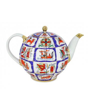 LOMONOSOV IMPERIAL PORCELAIN TEAPOT TULIP RUSSIAN LUBOK 10 CUPS 2000 ML 67.3 oz