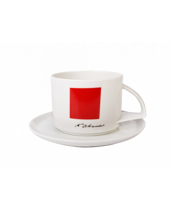 LOMONOSOV IMPERIAL PORCELAIN TEACUP AND SAUCER SUPREMATISM MALEVICH RED SQUARE 295 ml 10 oz