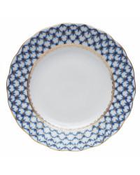 """LOMONOSOV IMPERIAL PORCELAIN DINNER PLATE COBALT NET TULIP 27 cm/10.6"""""""