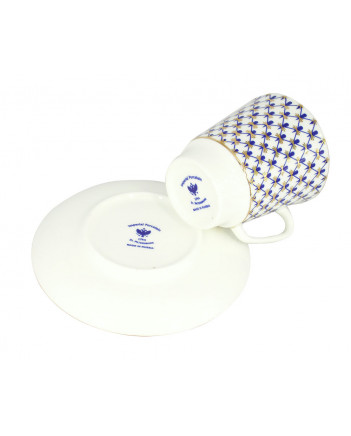 LOMONOSOV IMPERIAL BONE CHINA PORCELAIN ESPRESSO CUP MAY COBALT NET 165 ml/5.6 fl.oz