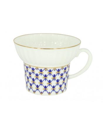 LOMONOSOV IMPERIAL BONE CHINA PORCELAIN ESPRESSO CUP WAVE COBALT NET 155 ml/5.2 fl.oz