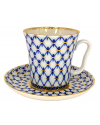 LOMONOSOV IMPERIAL PORCELAIN COFFEE LATTE HOT CHOCOLATE MUG COBALT NET 360 ml/12.2 fl.oz