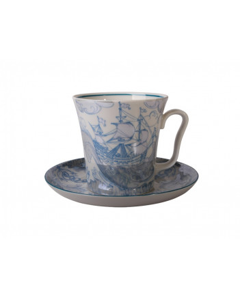 LOMONOSOV IMPERIAL PORCELAIN COFFEE LATTE HOT CHOCOLATE MUG BLUE SHIP 360 ml/12.2 fl.oz