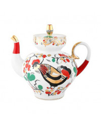 LOMONOSOV IMPERIAL PORCELAIN TEAPOT RED ROOSTERS 2 CUPS 600 ML 20.3 OZ
