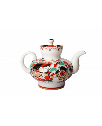 LOMONOSOV IMPERIAL PORCELAIN TEAPOT RED ROOSTERS 1 CUPS 300 ML 10.1 OZ
