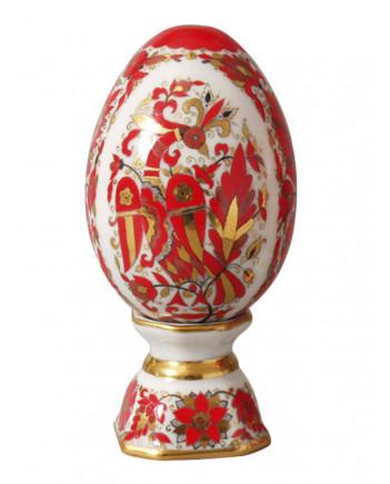 LOMONOSOV IMPERIAL PORCELAIN EASTER EGG ON STAND FIRE-BIRD
