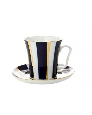 LOMONOSOV IMPERIAL PORCELAIN COFFEE LATTE HOT CHOCOLATE MUG  BLUE STRIPES 360 ml/12.2 fl.oz
