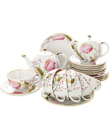 LOMONOSOV IMPERIAL PORCELAIN TEA SET SERVICE TULIP PINK TULIPS 20 Items