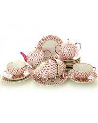 LOMONOSOV IMPERIAL PORCELAIN TEA SET SERVICE TULIP RED NET 20 items