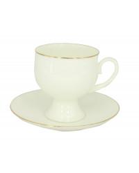 LOMONOSOV IMPERIAL BONE CHINA PORCELAIN ESPRESSO TEA CUP CLASSIC-2 GOLDEN EDGE 140 ml/4.7 fl.oz