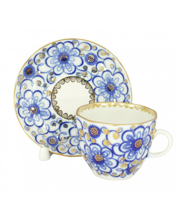 LOMONOSOV IMPERIAL PORCELAIN ESPRESSO COFFEE CUP AND SAUCER BINDWEED TULIP 140 ML/4.7 OZ