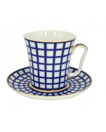 LOMONOSOV IMPERIAL PORCELAIN COFFEE LATTE HOT CHOCOLATE MUG COBALT CELL 360 ml/12.2 fl.oz