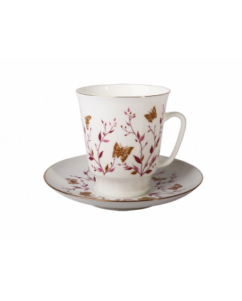 LOMONOSOV IMPERIAL BONE CHINA PORCELAIN ESPRESSO CUP MAY PINK BRANCHES 165 ml 5.6 fl.oz