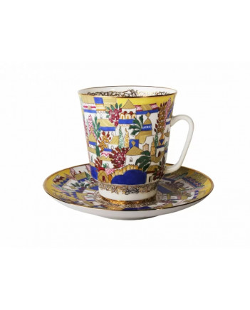 LOMONOSOV IMPERIAL BONE CHINA RARE PORCELAIN ESPRESSO CUP MAY WHITE HUTS 165 ml/5.6 fl.oz