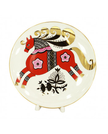 """LOMONOSOV IMPERIAL PORCELAIN DECORATIVE WALL PLATE RED HORSE 195 mm 7.7"""""""