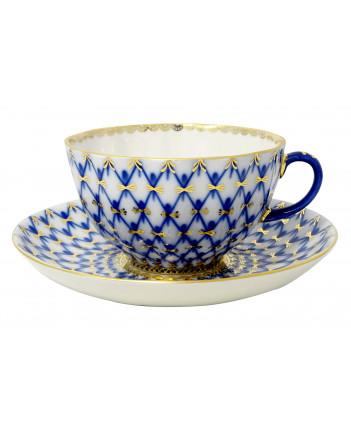 LOMONOSOV IMPERIAL PORCELAIN TEA SET SERVICE TULIP COBALT NET  22 items