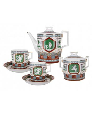 LOMONOSOV IMPERIAL PORCELAIN TEA SET SERVICE ANTIQUE 14 items