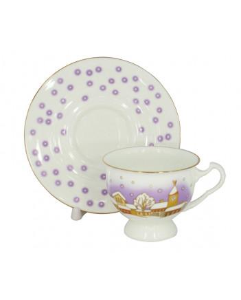 LOMONOSOV IMPERIAL BONE CHINA PORCELAIN TEA CUP AISEDORA SNOWFALL 240 ml/8.12 fl.oz