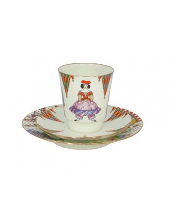 LOMONOSOV IMPERIAL BONE CHINA PORCELAIN ESPRESSO CUP SET MAY BALLET PETRUSHKA 165 ml/5.6 fl.oz