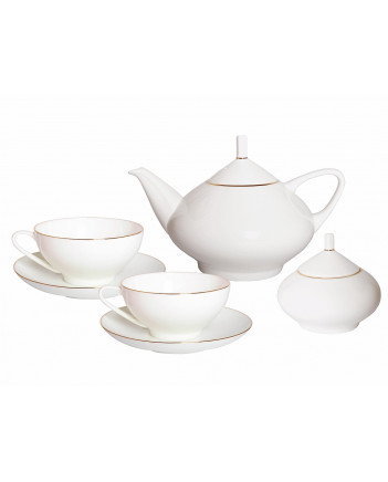 LOMONOSOV IMPERIAL BONE CHINA PORCELAIN TEA SET SERVICE GOLDEN EDGE DOME 14 items