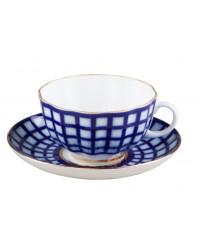 LOMONOSOV IMPERIAL PORCELAIN TEA SET SERVICE TULIP COBALT CELL 20 items