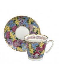LOMONOSOV IMPERIAL BONE CHINA RARE PORCELAIN ESPRESSO CUP BLACK COFFEE SPRING FLOWERS 80 ml/2.7 fl.oz