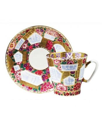 LOMONOSOV IMPERIAL BONE CHINA RARE PORCELAIN ESPRESSO CUP BLACK COFFEE FLOWER BACKGROUND 80 ml/2.7 fl.oz