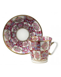 LOMONOSOV IMPERIAL BONE CHINA RARE PORCELAIN ESPRESSO CUP BLACK COFFEE PINK PATTERN 80 ml/2.7 fl.oz