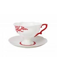 LOMONOSOV IMPERIAL BONE CHINA PORCELAIN TEA CUP NATASHA CORAL 220 ml/7.4 fl.oz