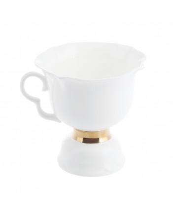 LOMONOSOV IMPERIAL BONE CHINA PORCELAIN ESPRESSO TEA CUP WHITE FLOWER GOLDEN EDGE 200 ml/6.8 fl.oz