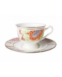 LOMONOSOV IMPERIAL BONE CHINA PORCELAIN TEA CUP AISEDORA MARIENTAL ORANGE 240 ml/8.12 fl.oz
