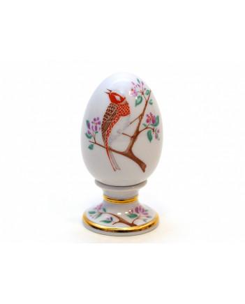 LOMONOSOV IMPERIAL PORCELAIN EASTER EGG ON STAND BUNTING BIRD