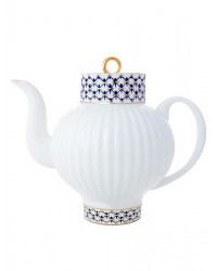 LOMONOSOV IMPERIAL BONE CHINA PORCELAIN TEA SET SERVICE COBALT NET WAVE 20 items