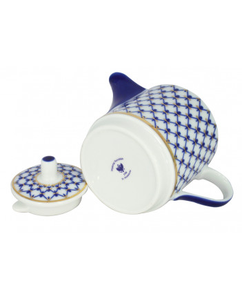 LOMONOSOV IMPERIAL PORCELAIN TEA SET CUP AND TEAPOT SOLO COBALT NET