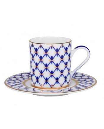 LOMONOSOV IMPERIAL PORCELAIN ESPRESSO COFFEE CUP AND SAUCER SOLO COBALT NET 100 ml/3.4 fl.oz