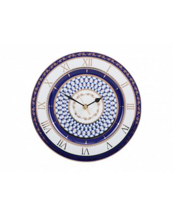 "LOMONOSOV IMPERIAL PORCELAIN DECORATIVE WALL CLOCK COBALT NET 27 cm/10.6"""