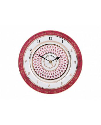 "LOMONOSOV IMPERIAL PORCELAIN DECORATIVE WALL CLOCK RED NET 27 cm/10.6"""