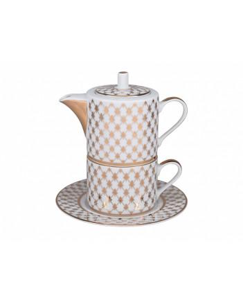 LOMONOSOV IMPERIAL PORCELAIN TEA SET CUP AND TEAPOT SOLO GOLDEN NET
