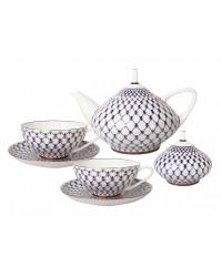 LOMONOSOV IMPERIAL BONE CHINA PORCELAIN TEA SET SERVICE COBALT NET DOME 14 items