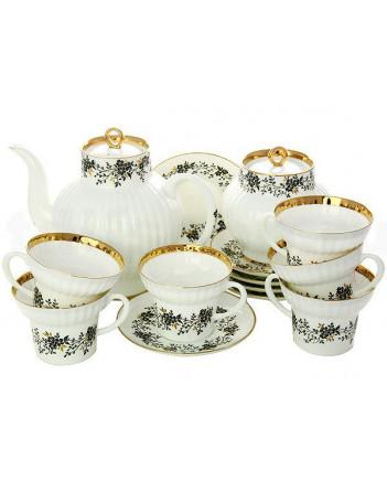 LOMONOSOV IMPERIAL BONE CHINA PORCELAIN TEA SET SERVICE TINY BRANCHES WAVE 20 items