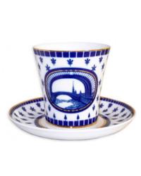 LOMONOSOV IMPERIAL PORCELAIN COFFEE LATTE HOT CHOCOLATE MUG HERMITAGE BRIDGE 360 ml/12.2 fl.oz