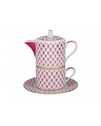 LOMONOSOV IMPERIAL PORCELAIN TEA SET CUP AND TEAPOT SOLO RED NET