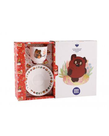 LOMONOSOV IMPERIAL BONE CHINA PORCELAIN ESPRESSO CUP  Piglet  and Winnie the Pooh 180 ml 6.1 fl.oz