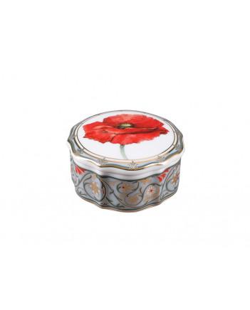 LOMONOSOV IMPERIAL PORCELAIN TREASURE JEWELERY BOX ROUND RED POPPY